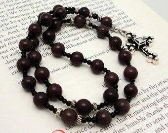 Purple Aventurine Anglican Rosary / Protestant Prayer Beads / Anglican Prayer Beads with TierraCast Pewter Byzantine Cross