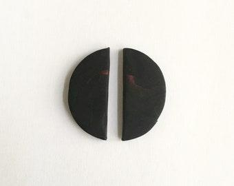 BlackbMidern Half Moon Stud Earrings