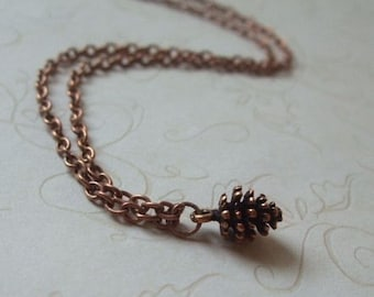 Copper Pinecone Necklace