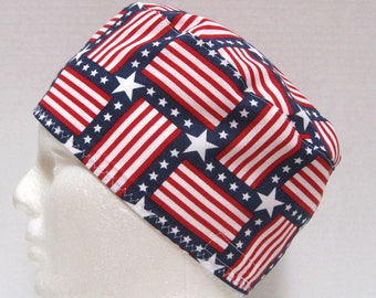 Patriotic Scrub Hat, Surgical Cap, Chemo Cap in Red White and Blue