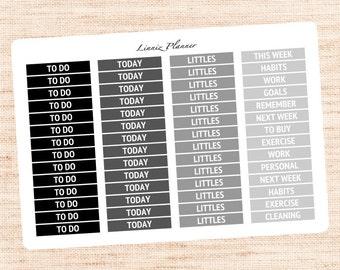 Header Black and Grey Functional Basics (matte planner stickers, Erin Condren, Happy Planner)