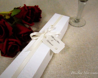 Cream Scroll Wedding Invitation with Rose Embossed Presentation Box