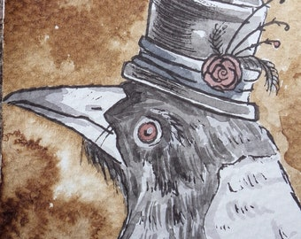 Original ACEO Magpie Watercolour magpie