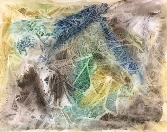 Abstract Watercolor- 10x14- Green, Brown, Blue, Ochre - Small Original Painting- Art on Paper- Ready To Ship- Vertical or Horizontal