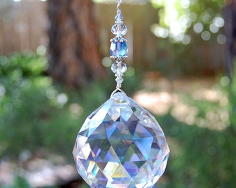 Large Crystal Prism Suncatcher, Window Decoration, Sun Catcher, Home Decor, Clear With Blue Hanging Crystal, Unique Rainbow Maker