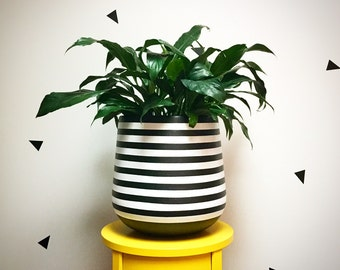 Hand-painted lightweight indoor plant pot black white stripes