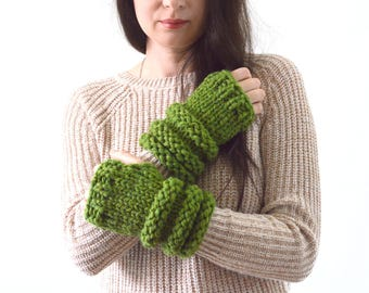 Chunky Knit Arm Warmers Wrist Warmers Fingerless Gloves Mittens | The Falstones