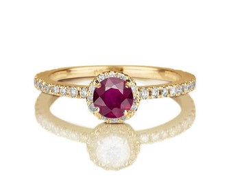 2/3 Carat Ruby Engagement Ring, Diamond Engagement Ring, 14K Gold Natural Ruby Ring, Halo Engagement Ring, Ruby Ring Vintage, Unique Rings