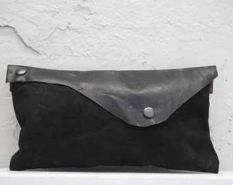Black Leather Clutch/ Canvas Clutch Bag/ Pouch/Purse/ Edgy Bags