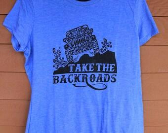 """JEEP """"Take the Backroads"""" Tribal Tattoo LADIES Tri-Blend S/S T-Shirt (S-XL)"""