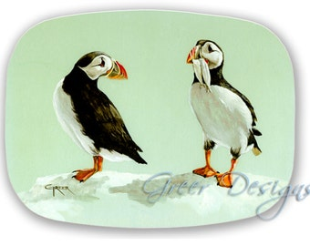 Atlantic Sea Puffins Comical Watercolor Painting Serving Platter Tray 100% Made in USA
