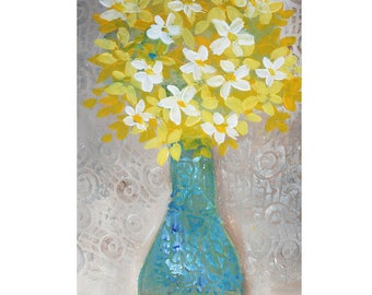 """Yellow Flowers in Turquoise Vase 5"""" x 7"""" Blank Greeting Cards (Set of 6). Print of Original Mixed Media Collage. Print-to-Order."""