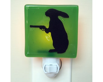 Rabbit Night Light - Rabbit With a Gun - Funny Gift - Hand Painted Glass