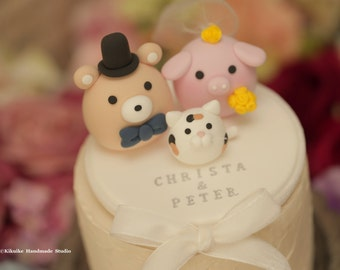 bear and  pig  wedding cake topper