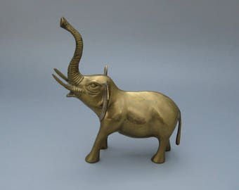 "Vintage Brass Elephant Figurine 9-1/4"" Tall Trunk Up 1970s Boho Decor"