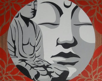 Buddha art stencil painting