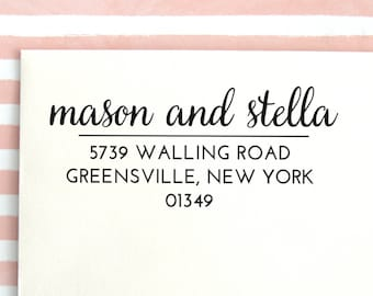Custom Address Stamp | Return Address Stamp | Custom Rubber Stamp | Personalized Address Stamp | Return Address Label | Calligraphy, No 26