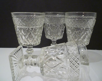 WEXFORD GLASS DESERTS.Individual English Trifles, Berries. Water,Wine Glasses. 1960's Wexford Glass By Anchor Hocking. 2 Sets Of four avail.