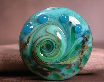 Organic Lampwork Lentil Focal Bead, Artisan Glass Focal Bead, Divine Spark Designs, SRA