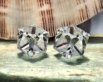Swarovski 10mm Crystal Cube, Stud-Post Earrings, 4841 10mm Slant Cube,  Surgical Steel Posts