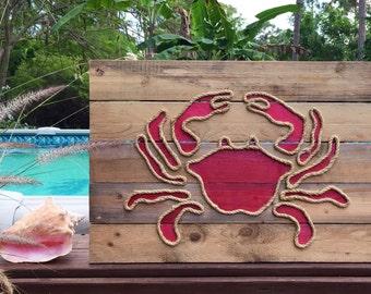 Handmade Crab with Rope© Beach Pallet Art Coastal Decor Rope Art Pallet Art Crab Art Nautical Art