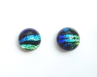 Small Turquoise, Blue, Chartreuse, Green, Black, Fused Dichroic Glass Stud Earrings, 6mm Cabochons, Hypoallergenic Surgical Steel Posts