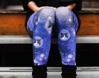 SPACE CATS leggings digitally printed Supayana Now in Poly Spandex