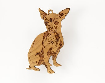 Chihuahua Ornament from Timber Green Woods. Made in the U.S.A! - Cherry Wood