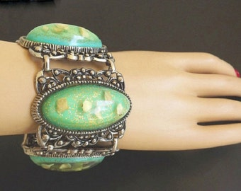 Vintage Bracelet Set Earrings Green Confetti Rhinestones Chunky Costume Jewelry 1950s Dressy Casual