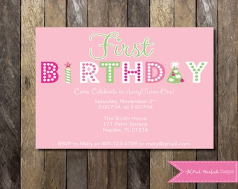 First Birthday Invitation, Pink and Green First Birthday Invitation, Printable Invitation, Pink Birthday Invitation, 1st Birthday Invitation