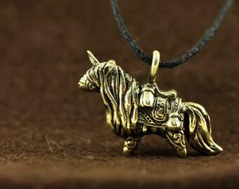 Horse Unicorn Pony bronze pendant necklace