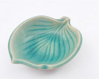 Vintage Teal Green Leaf Bowl Miniature Ceramic Pottery Mini Japanese Leafy Relish Condiment Saucer Mamezara Novelty