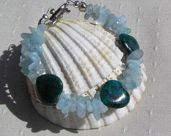 "Crystal Gemstone Bracelet, Blue Jasper & Aquamarine ""Angel Heart"", Aquamarine Bracelet, Chakra Bracelet, Jasper Bracelet, Scorpio Bracelet"