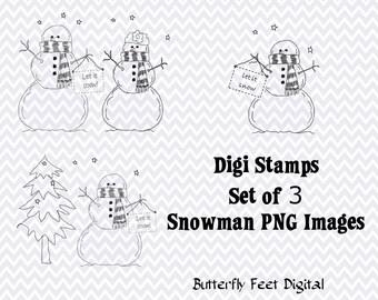 Snowman PNG Clip Art, Set of 3 Digi Stamps, Digital Stamp Set, Christmas Card Making, Instant Download
