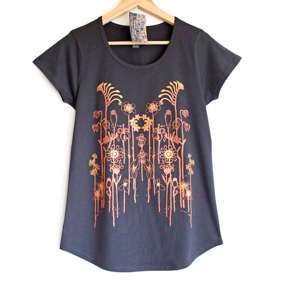 WILD FLOWERS . Dark womens t-shirt with metallic copper print. Australian wildflowers. Womens top with flowers.