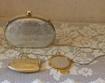 Judith Leiber Swarovski Crystal Minaudiere Clutch Evening Bag with Accessories