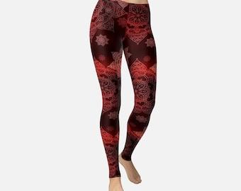 Dark Red Mandala Leggings