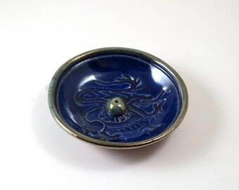 Incense Burner Dragon Handmade Raku Pottery