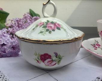 Pretty Vintage Royal Albert Flowers of the Month Series Sugar Bowl, Trinket Dish