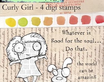Curly Girl - quirky curly-haired girl with dog and two sentiments - 4 digi stamp set.