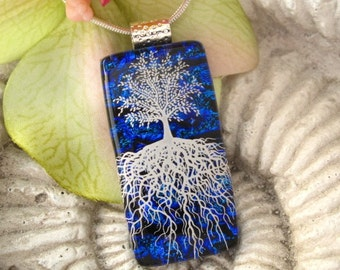 Free Necklace Sale Captive Evening White Magical Tree of Life Fused Dichroic Glass Pendant 051010p102