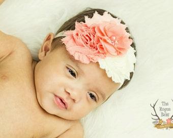 Coral Peach Cream Headband with Pearl Rhinestones - Newborn Infant Baby Toddler Girls Adult Wedding Spring Ivory Bright Peachy