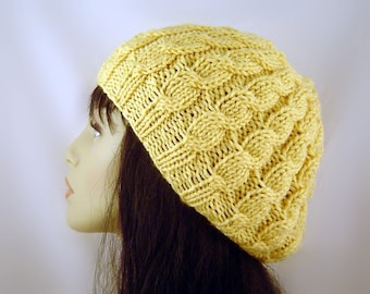 Hand Knit Slouch Beret in Cornmeal