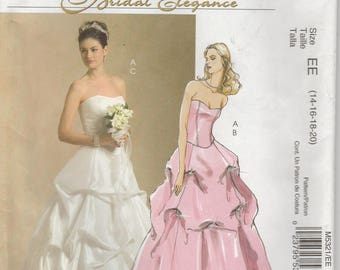 Two Piece Wedding Dress Bodice and Skirt With Draping Misses Size 14 - 16 - 18 - 20 Uncut McCalls 5321