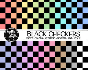 50% off SALE!! 16 Black Checkers Digital Paper • Rainbow Digital Paper • Commercial Use • Instant Download • #CHECKERS-102-BP