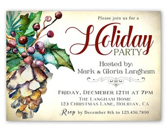 Christmas Party Invitation, Holiday Party Invitation, Holiday Dinner Party Invite, Christmas Invites, Company Party , Rustic Style Pinecone