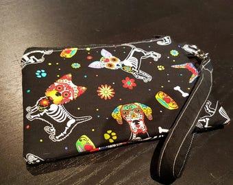 Dog Sugar Skull Wristlet Bag