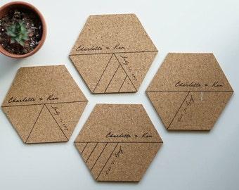Personalized Coasters Set of 4 - Custom Cork Coaster - Hexagon Geometric Coaster - Drink/Bar/Coffee Coaster - Christmas Coaster - Wedding