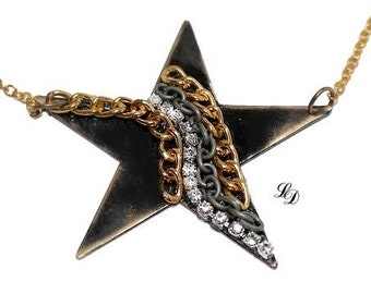 Star necklace, statement, rocker, boho, contemporary, rustic, 2 inches, 5 cm, enamel, womans necklace, celestial,  big star, free shipping