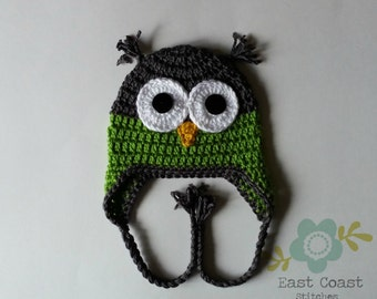 Grey and Green Owl Hat - Winter Earflap hat - Baby to Adult Sizes - Woodland Animal Hat - Boy's Hat - Baby Owl Hat - Crochet Owl Hat